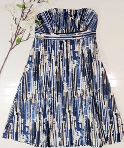 Limited blue/cream abstract strapless dress